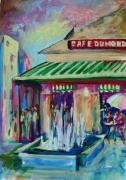 Balconies Paintings - Cafe du Monde by Saundra Bolen Samuel