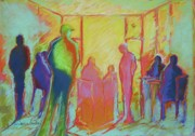 Figures Pastels - cafe Four by LaDonna Kruger