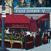 Red Cafe Posters - Cafe George V Poster by Christopher Mize