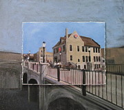 Bridge Mixed Media Framed Prints - Cafe Hollander 2 layered Framed Print by Anita Burgermeister
