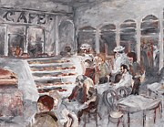 Bistro Paintings - Cafe in Montreal by Andreanne Champagne-MacNeill
