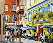 City Scape Metal Prints - Cafe in the Old Quebec Metal Print by Richard T Pranke