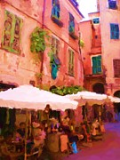 Village Digital Art Originals - Cafe in Village of Cinque Terre by Ozborne-Whilliamsson