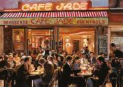 Scene Painting Posters - Cafe Jade Poster by Guido Borelli