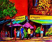 Montreal Sidewalk Terraces Acrylic Prints - Cafe La Moulerie On Bernard Acrylic Print by Carole Spandau