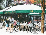 Urban Scenes Drawings - Cafe Les Duex Magot in Paris by Paul Guyer