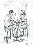 Strong Drawings Originals - Cafe by Natoly Art