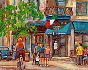 Bicycles Paintings - Cafe Olimpico-124 Rue St. Viateur-montreal Paintings-sports Bar-restaurant-montreal City Scenes by Carole Spandau