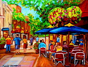 Couples Paintings - Cafe On Prince Arthur  In Montreal  by Carole Spandau