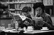 Mid Adult Women Metal Prints - Cafe Papers Metal Print by Bert Hardy