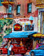 Resto Bars Paintings - Cafe Piazzetta  St Denis by Carole Spandau