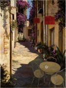 Red Prints - Cafe Piccolo Print by Guido Borelli