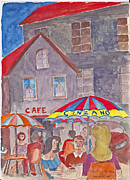 Cafe Umbrellas Posters - Cafe Place de Opera Paris Poster by Fred Jinkins