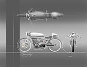 Old Car Drawings Prints - Cafe Racer Print by Jeremy Lacy