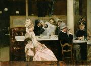 Leather Paintings - Cafe Scene in Paris by Henri Gervex