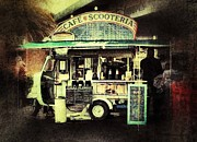 Mobile Framed Prints - Cafe Scooteria Framed Print by Tracy Thomas