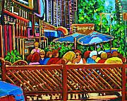 Cafes Painting Originals - Cafe Second Cup by Carole Spandau