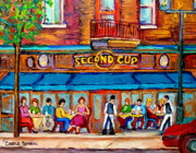 Quebec Paintings - Cafe Second Cup Terrace by Carole Spandau