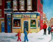 Winter Scenes Paintings - Cafe St. Viateur Montreal by Carole Spandau