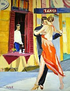 Dance Painting Prints - Cafe Tango Print by Judy Kay