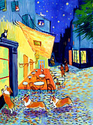 Pembroke Welsh Corgi Framed Prints - Cafe Terrace at Night - after Van Gogh with Corgis Framed Print by Lyn Cook