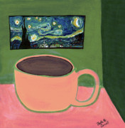 Coffee Cup Prints - Cafe Terrace at Night Print by Beth  Cornell