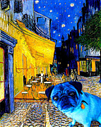 Cafe Terrace Painting Posters - Cafe Terrace Pug Poster by Laura Sotka