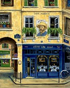 France Doors Painting Prints - Cafe Van Gogh Print by Marilyn Dunlap