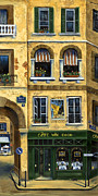 Landmarks Tapestries Textiles Originals - Cafe Van Gogh Paris by Marilyn Dunlap