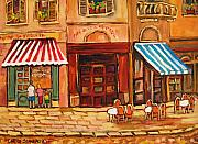 Couples Paintings - Cafe Vieux Montreal by Carole Spandau