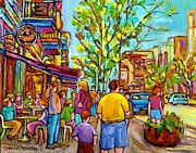 Montreal Streetscenes Painting Prints - Cafes In Springtime Print by Carole Spandau