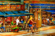 Resto Bars Posters - Cafes With Blue Awnings Poster by Carole Spandau