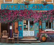 Blue Chairs Posters - caffe del Aigare Poster by Guido Borelli
