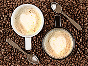 Coffee Drinking Metal Prints - Caffe Latte for two Metal Print by Gert Lavsen