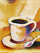 Bistro Paintings - Caffe Lungo by Lutz Baar
