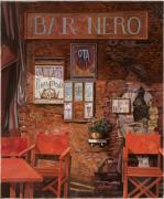 Waiter Painting Prints - caffe Nero Print by Guido Borelli
