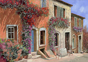 Table Framed Prints - Caffe Sulla Discesa Framed Print by Guido Borelli