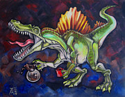 Dinosaur Paintings - Caffeinosaurus by Ellen Marcus