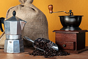 Tool Maker Photos - Caffettiera coffee beans and grinder  by Richard Thomas