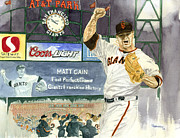Baseball Painting Posters - Cains Perfect Night Poster by George  Brooks