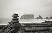 Olympic National Park Prints - Cairn on a beach Print by Olivier Steiner