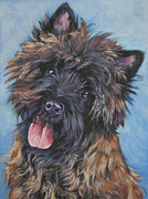 Brindle Painting Prints - Cairn terrier Brindle Print by Lee Ann Shepard
