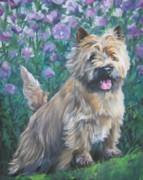 Cairn Prints - Cairn Terrier in the Flowers Print by Lee Ann Shepard
