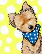 Cairn Terrier Posters - Cairn Terrier On Dotted Yellow Poster by Kim Niles