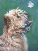 Cairn Terrier Prints - Cairn Terrier with butterfly Print by Lee Ann Shepard