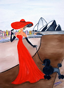 Ball Gown Mixed Media Prints - Cait and Boo go to the opera Print by Traci Dalton