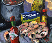 Louisiana Seafood Paintings - Cajun Boil by Carole Foret