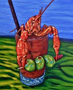 Crawfish Painting Posters - Cajun Cocktail Poster by JoAnn Wheeler