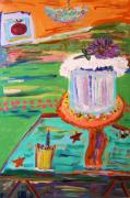 Outsider Art Paintings - Cake and Lemonade by Mary Carol Williams