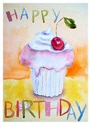 Sweets Painting Acrylic Prints - Cake with insription Happy Birthday Acrylic Print by Regina Jershova